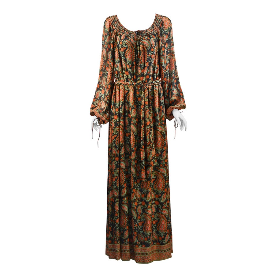 1970s Treacy Lowe Paisley Peasant Dress For Sale
