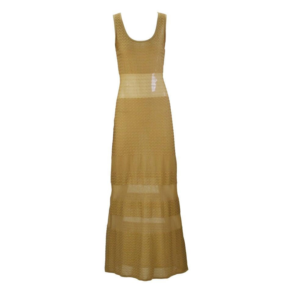 1980s Fendi Gold Sheer Panel Dress