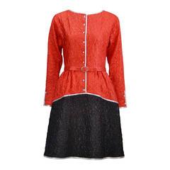 1970s Geoffrey Beene Red & Black Metallic Dress