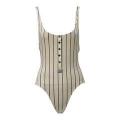 NWT -- Late 80's Gottex Baseball Stripe Swimsuit