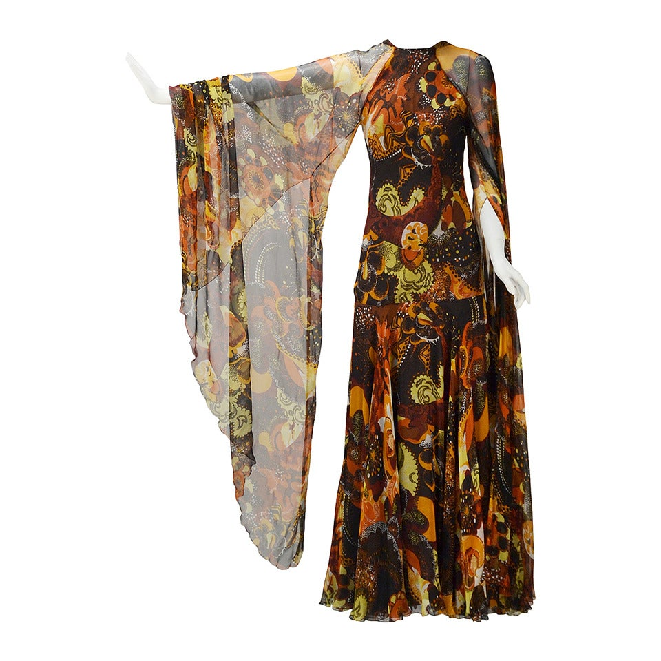 1970s Stavropoulos silk print Dress 1