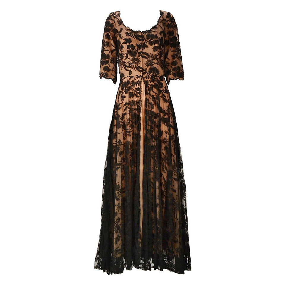 1960s Lucie Ann Black Lace and Chiffon Dressing Gown at 1stdibs