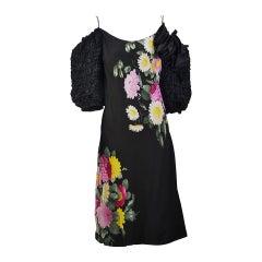 1980s Pauline Trigere Black Floral Off the Shoulder Silk Dress