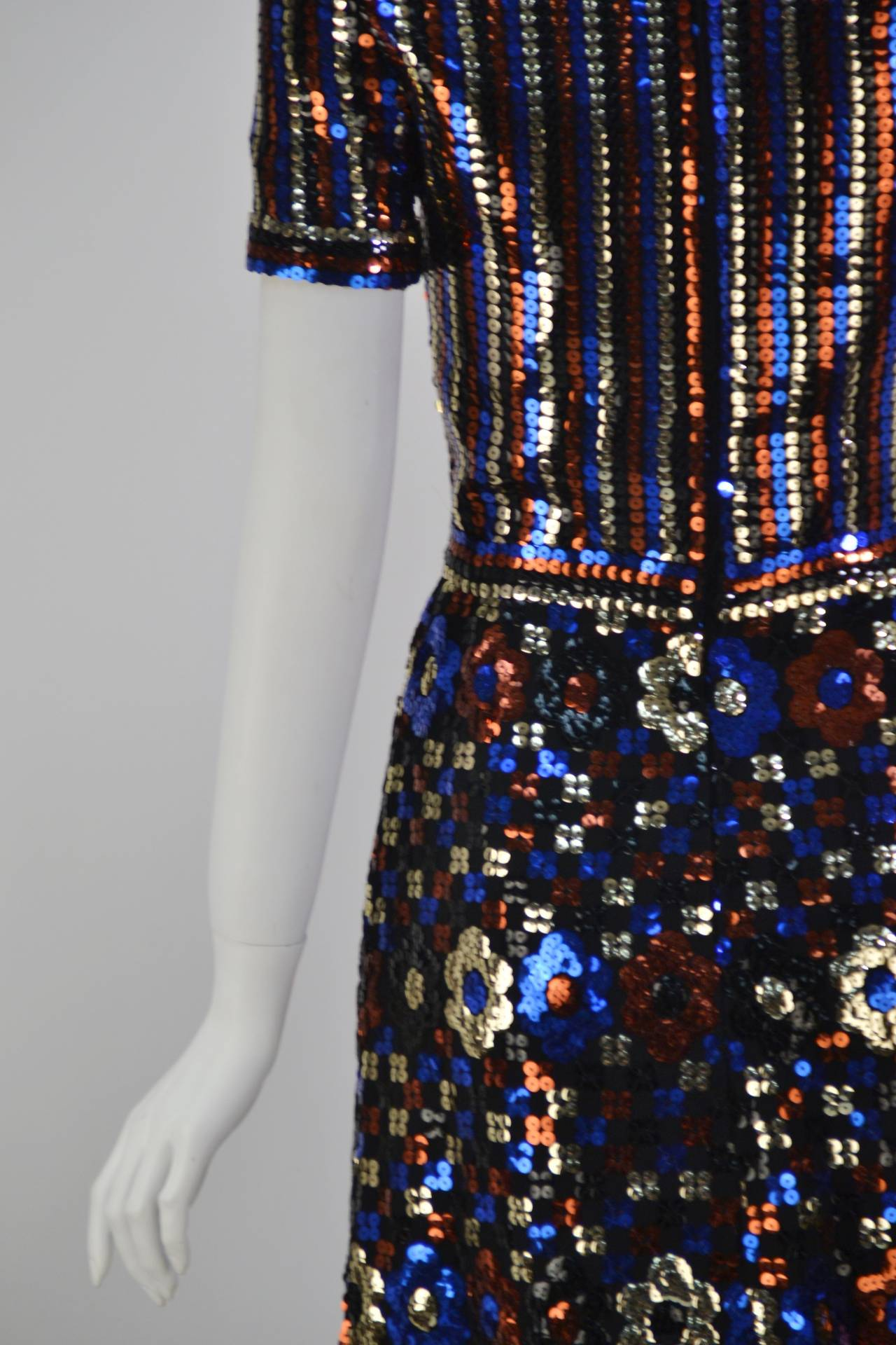 1960s Trevise Sequin Dress In Excellent Condition For Sale In Houston, TX