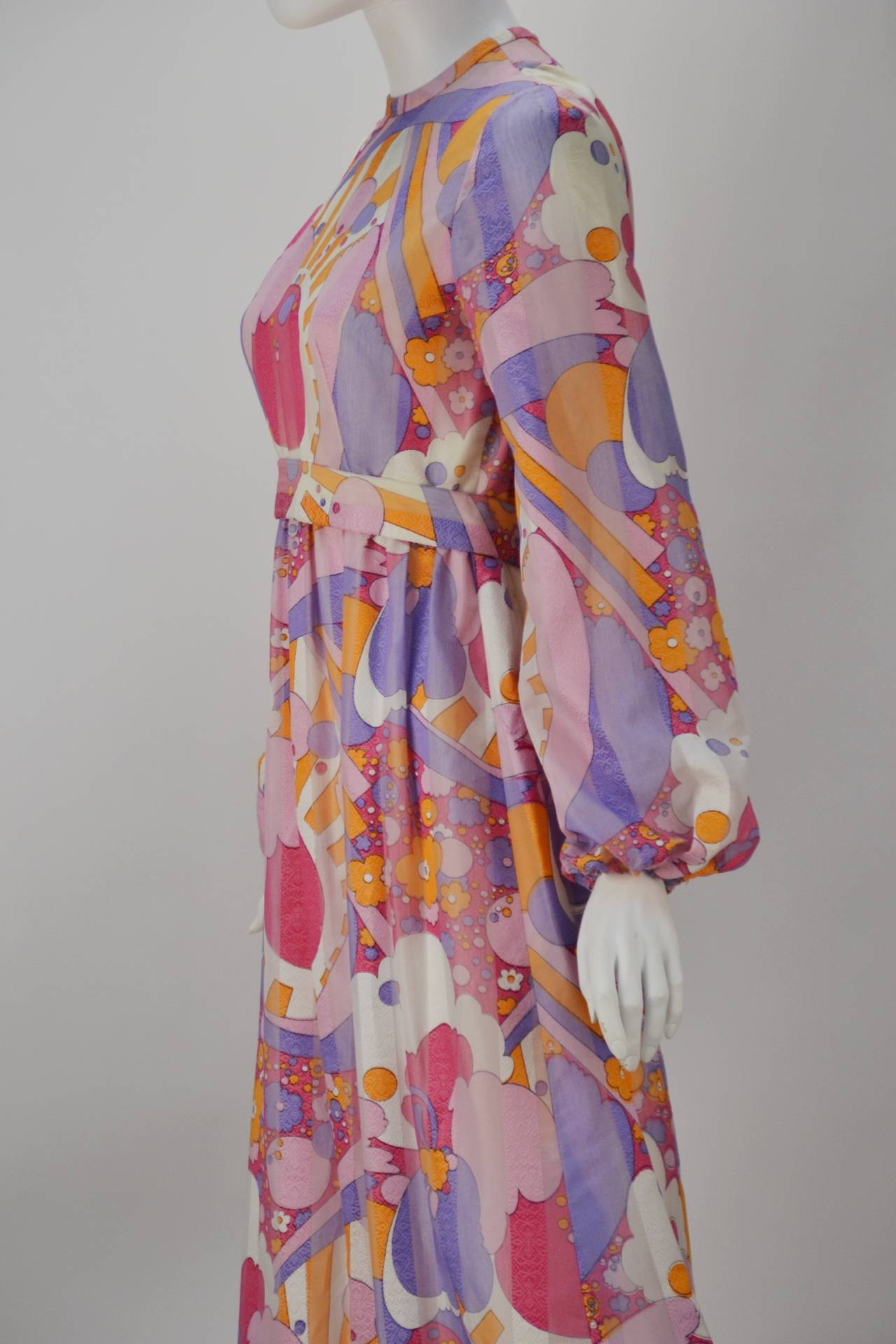 Women's 1960s Rodrigues Vibrant Multi Color Print Dress For Sale