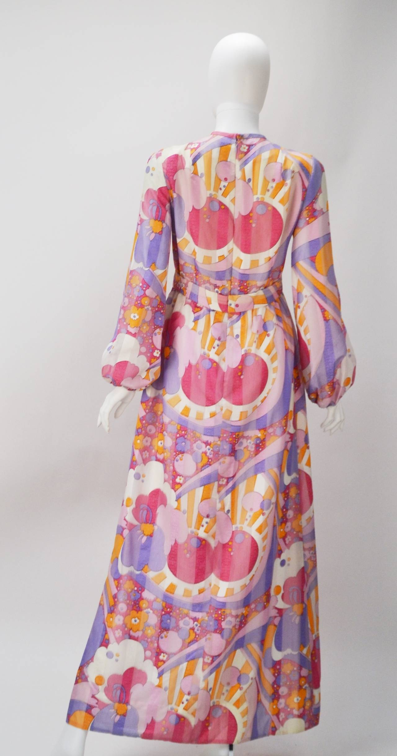 Brown 1960s Rodrigues Vibrant Multi Color Print Dress For Sale