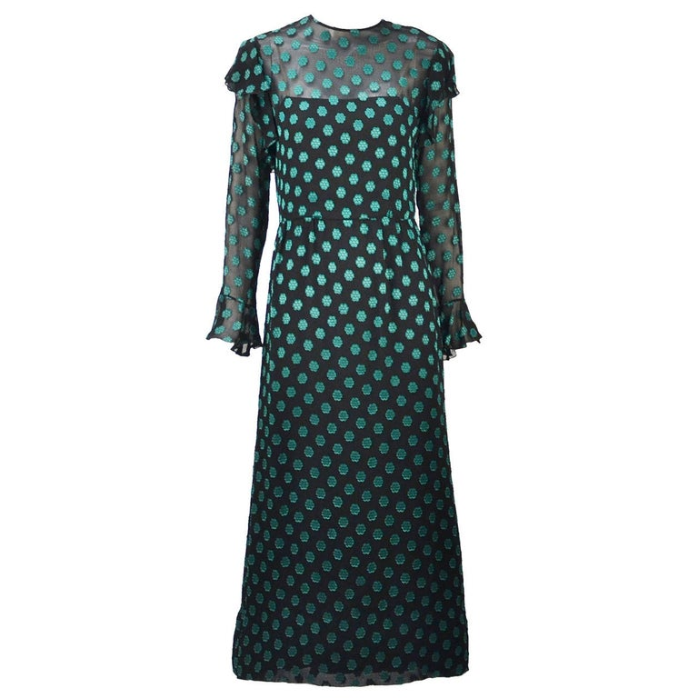 1980s Christian Dior Green Dress For Sale