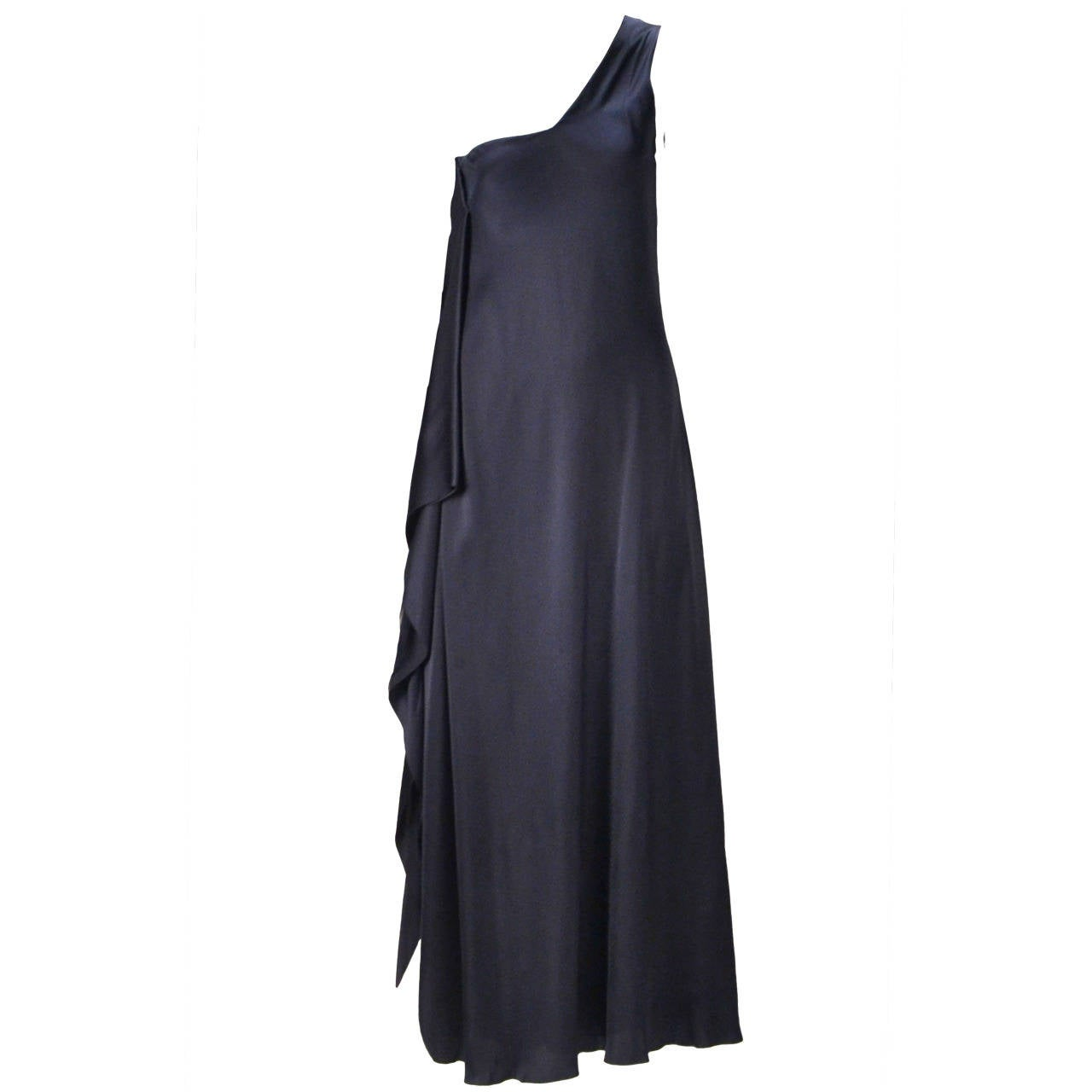 1970s Stavropoulos Navy One Shoulder Dress