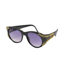 1980s Emanuelle Khanh Gold and Rhinestone Studded Sunglasses
