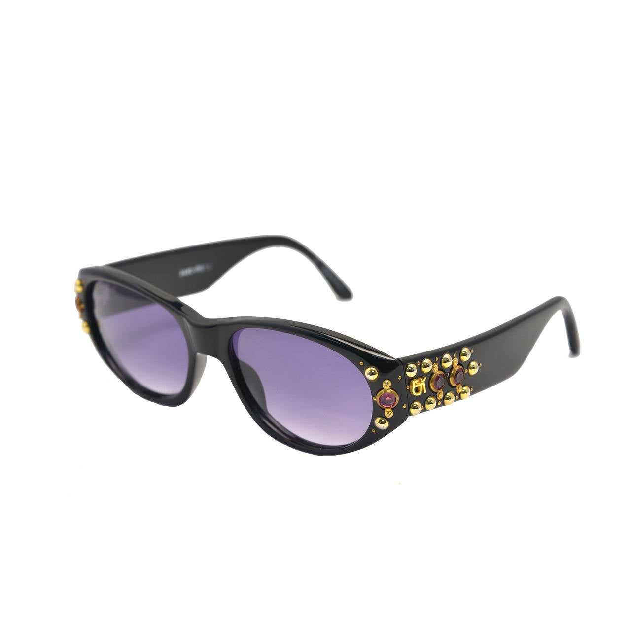 1980s Emanuelle Khanh Gold Studded Sunglasses with Pink Stones