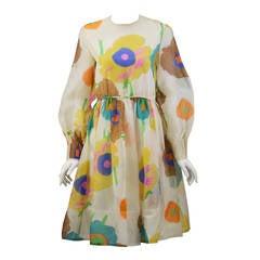 1960's Chester Weinberg Flower Print Dress