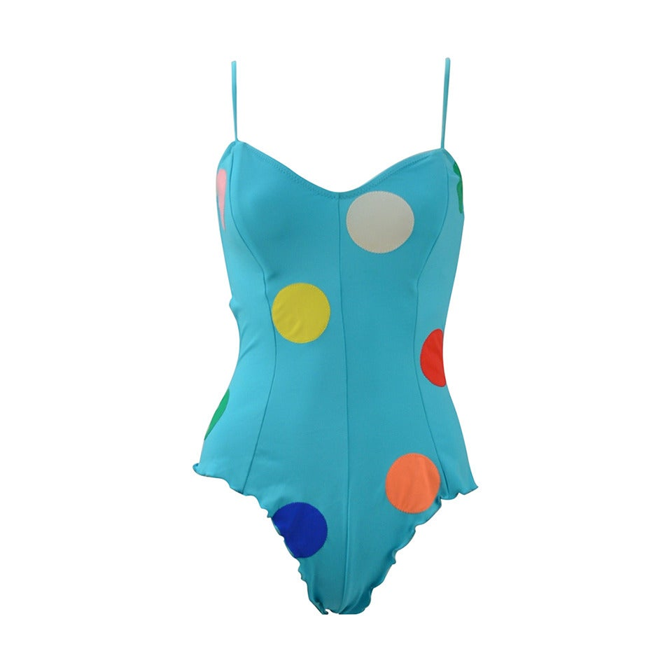 Fabulous 1980's NWT Keiko Large Polka Dot Swimsuit 1