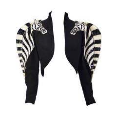 Extremely Rare 1970's Bob Mackie Sequined Zebra Bolero