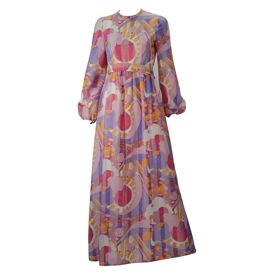 1960s Rodrigues Vibrant Multi Color Print Dress For Sale