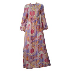 1960s Rodrigues Vibrant Multi Color Print Dress