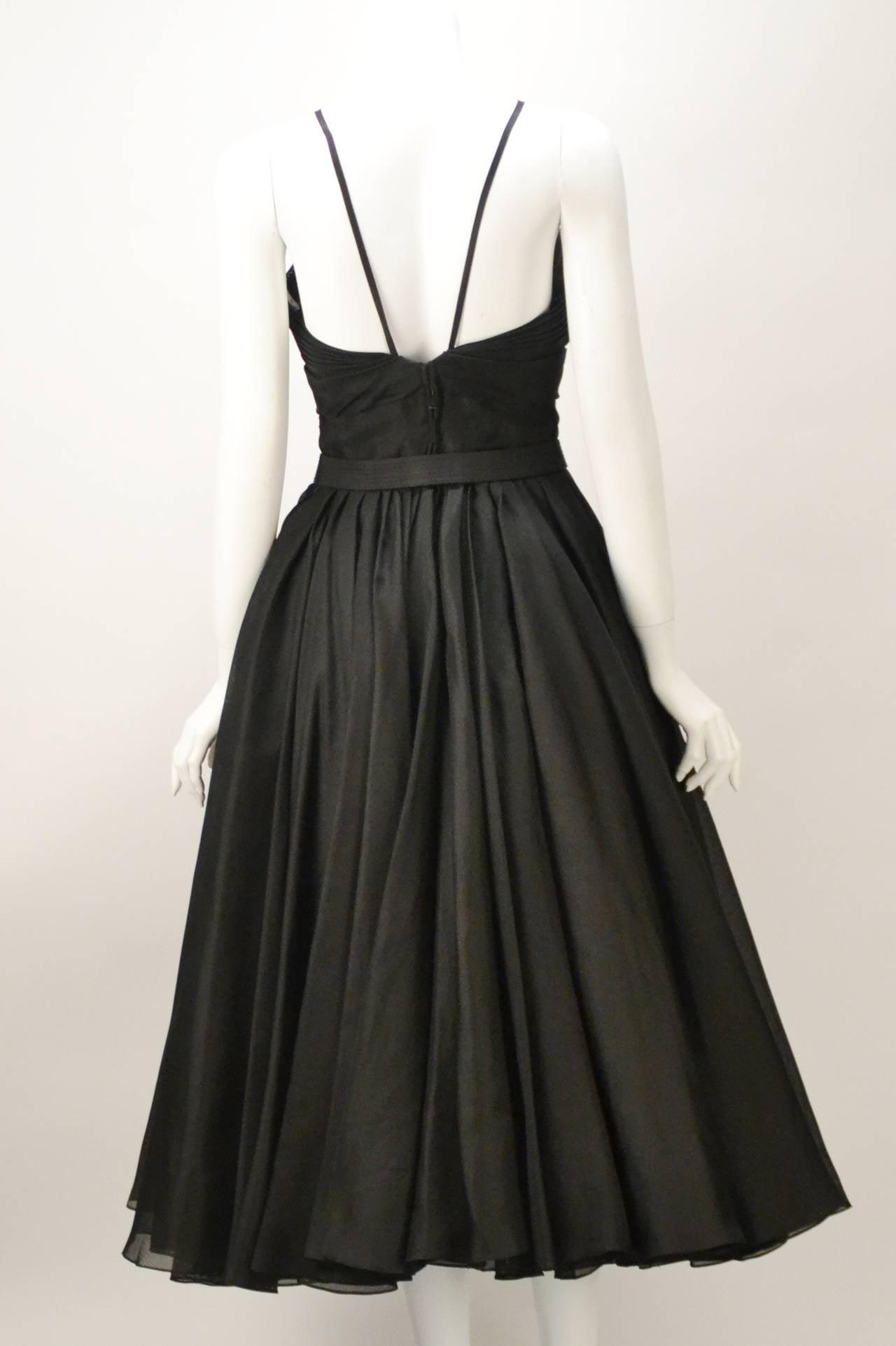 Rare 1950s Traina Norell Black Halter Day Dress For Sale