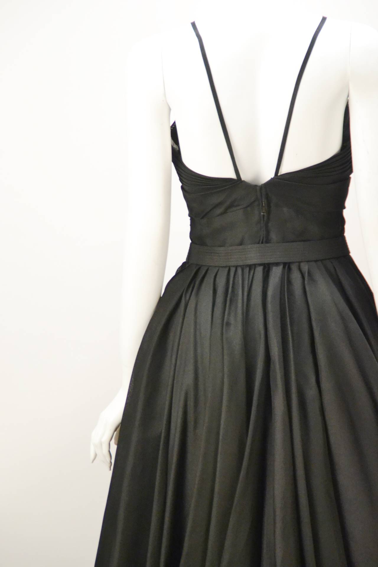 Rare 1950s Traina-Norell Black Halter Day Dress For Sale 1