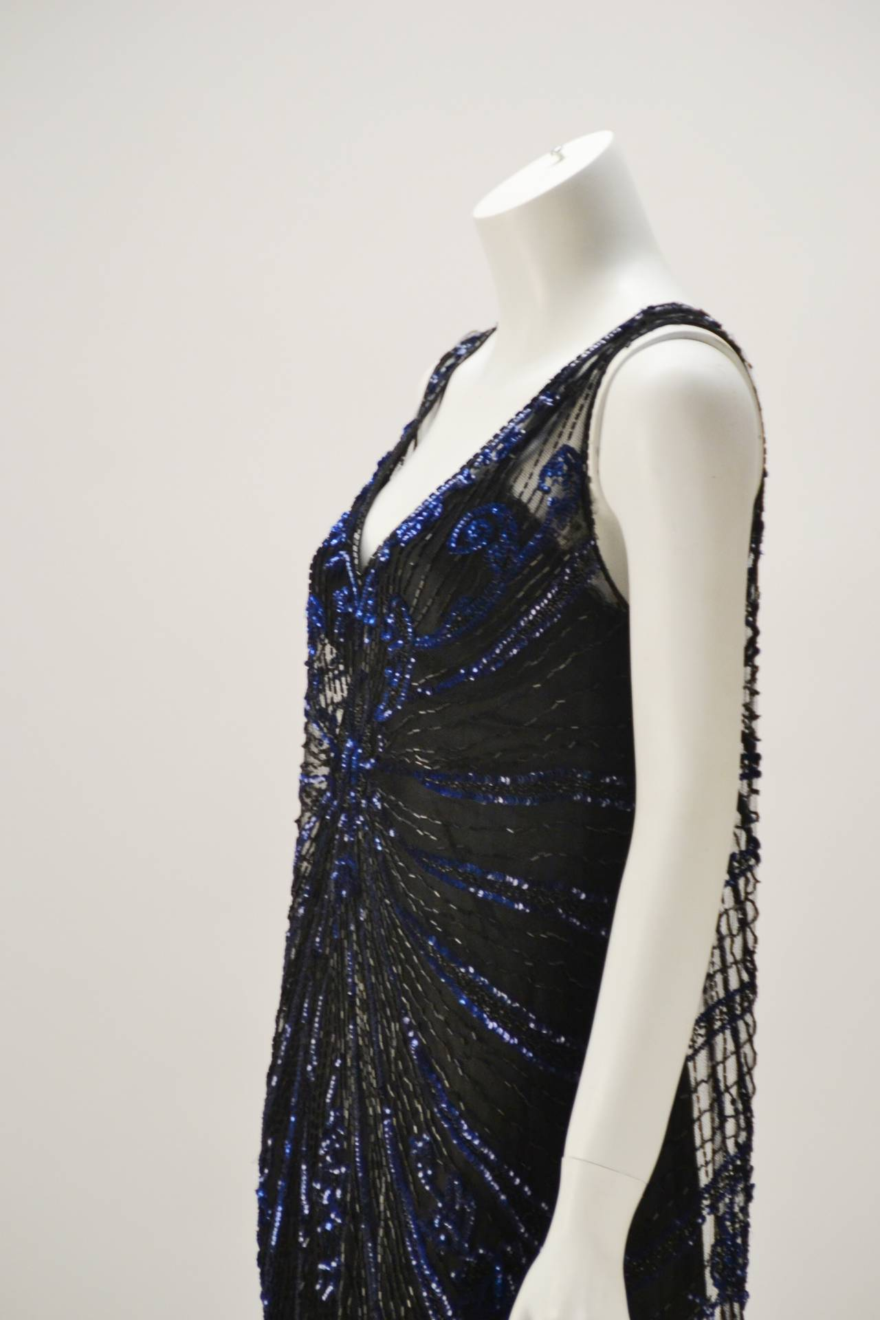1920s Black Net Blue Sequin and Beaded Flapper Dress For Sale 1