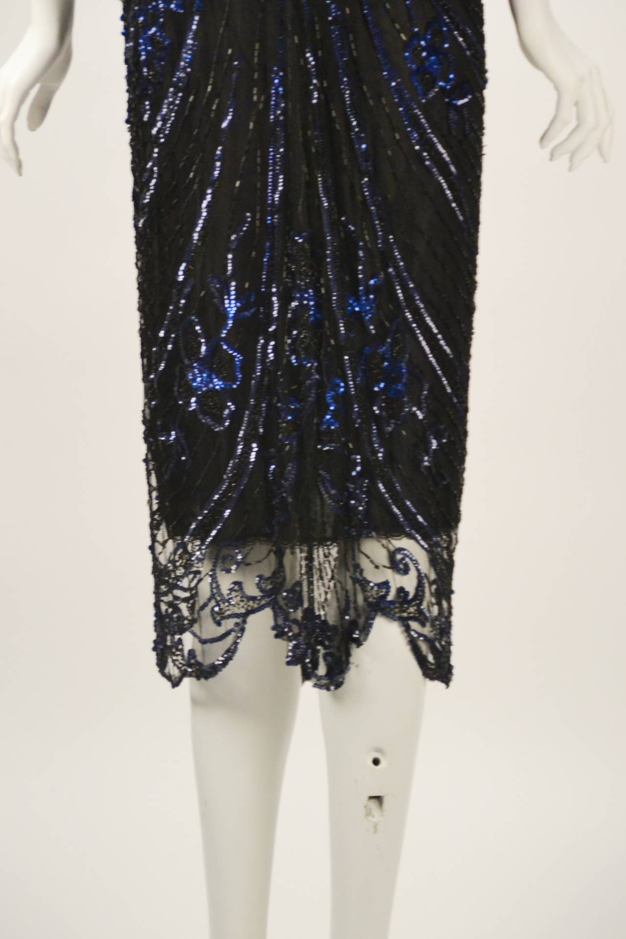 Women's 1920s Black Net Blue Sequin and Beaded Flapper Dress For Sale