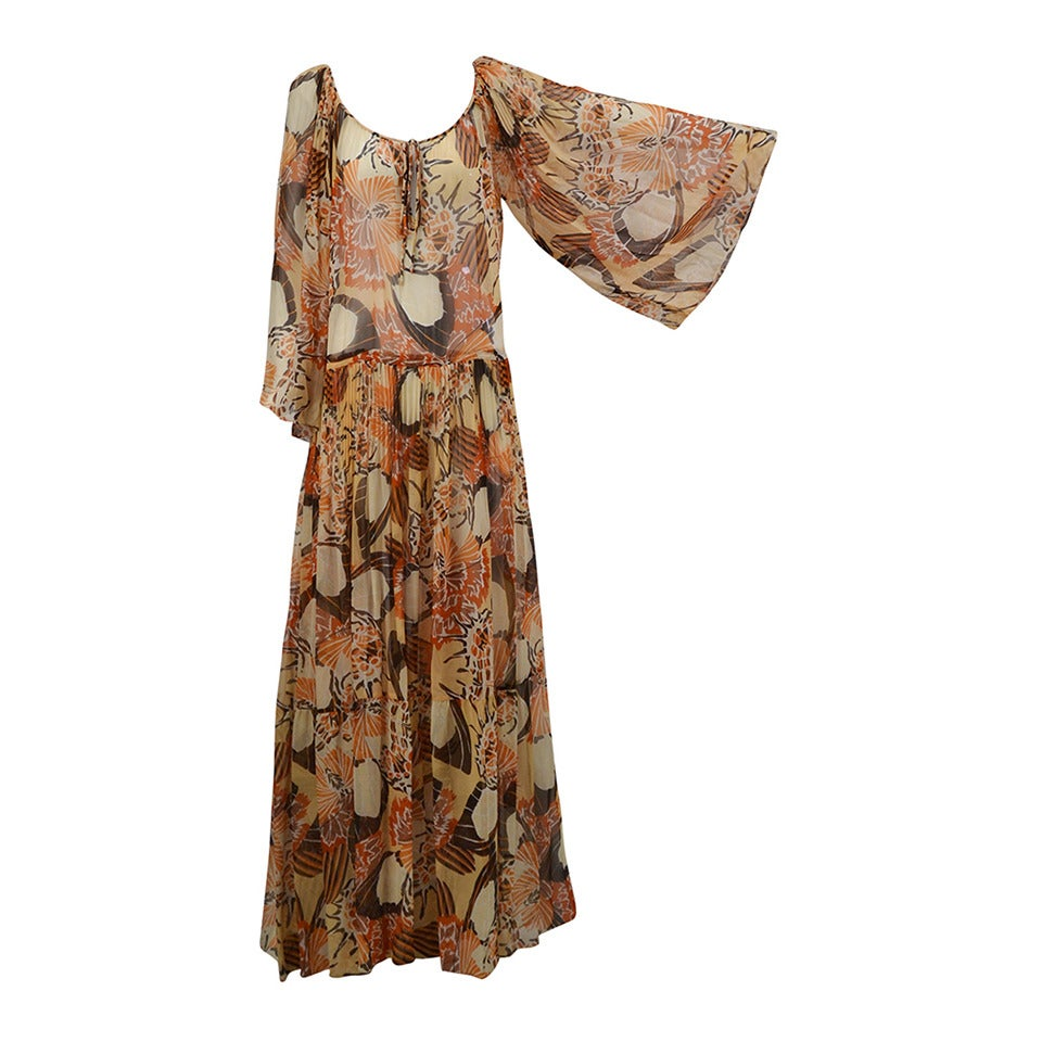 1970s Richilene Chiffon Floral Print Maxi Dress 1