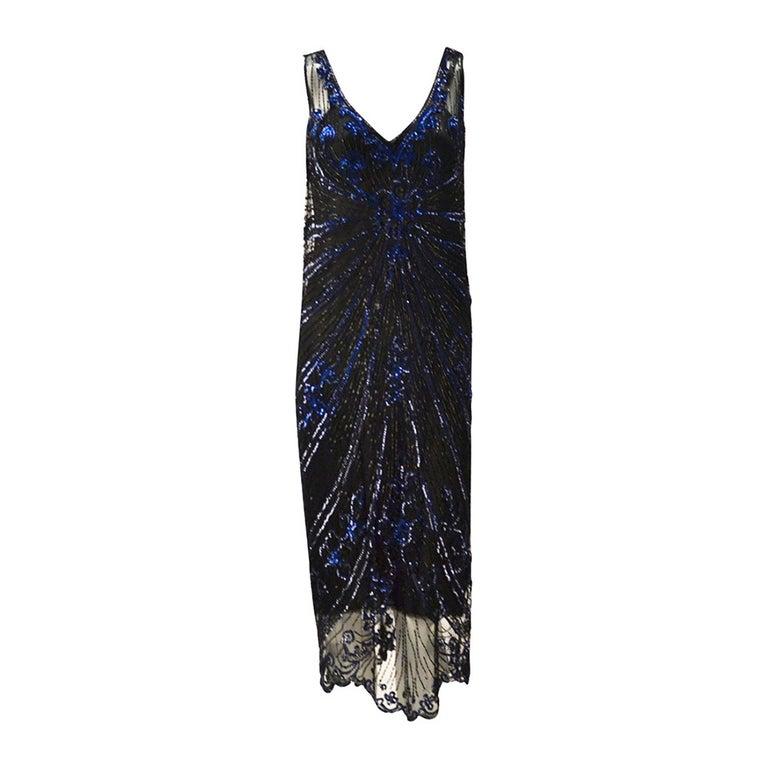 1920s Black Net Blue Sequin and Beaded Flapper Dress