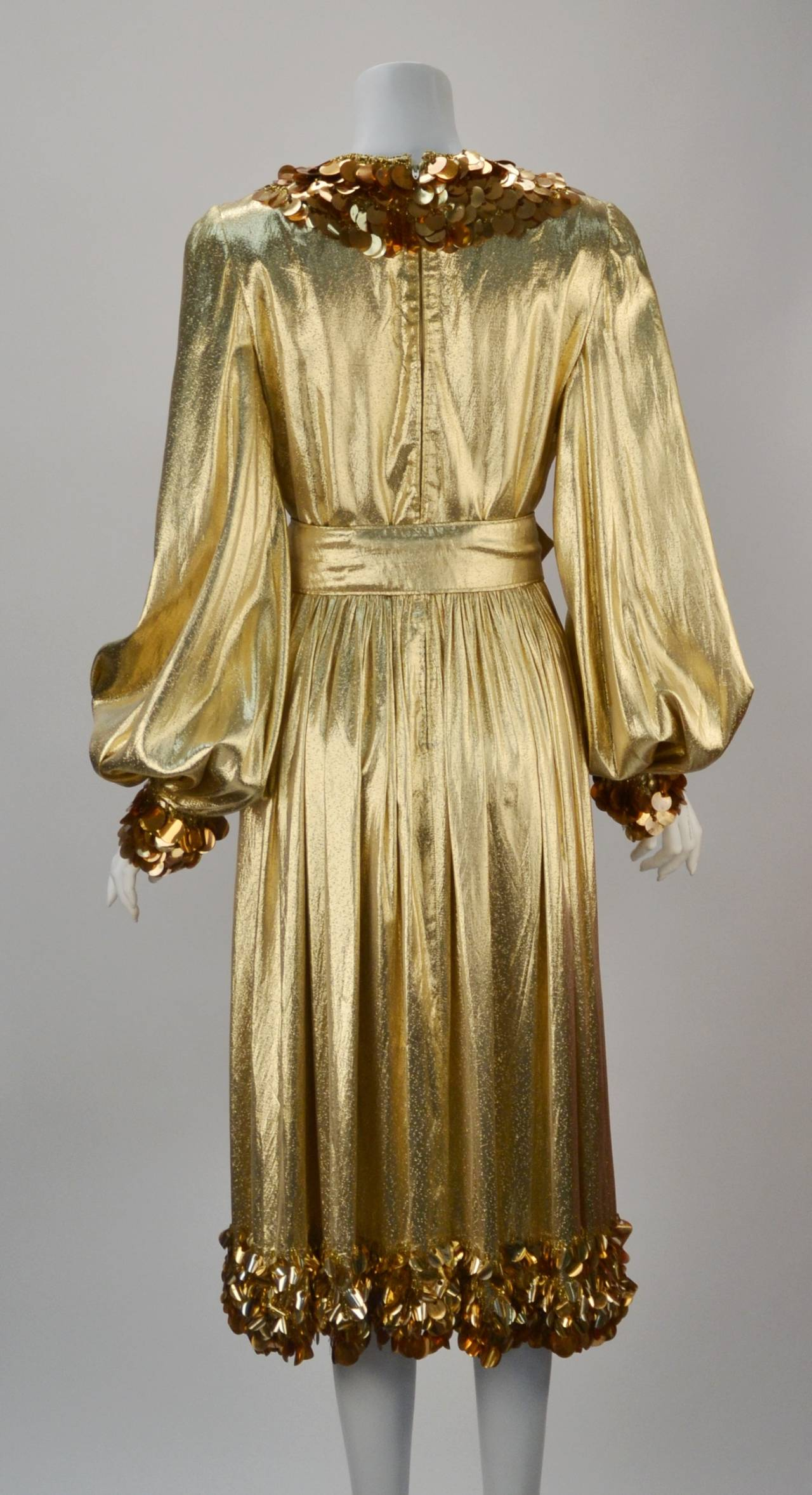 1960s Donald Brooks Gold Metallic Evening Dress With