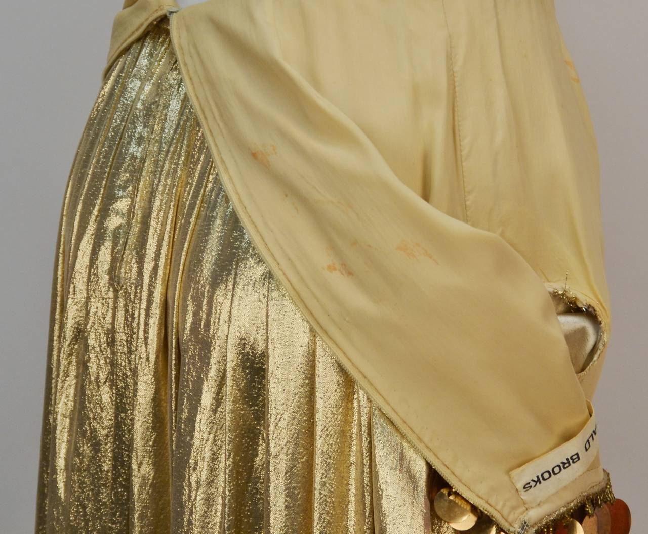 1960s Donald Brooks Gold Metallic Evening Dress with Sequin and ...