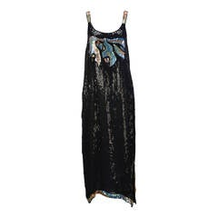 1980s Stunning Sleeveless Black and Multi-Colored Sequin and Beaded Dress