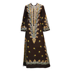 1970s Ethnic Brown with Embroidery Kaftan