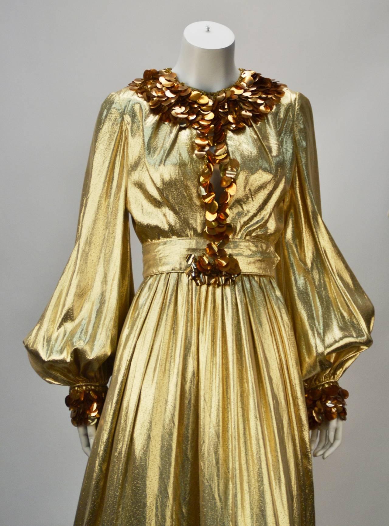 1960s Donald Brooks Gold Metallic Evening Dress With