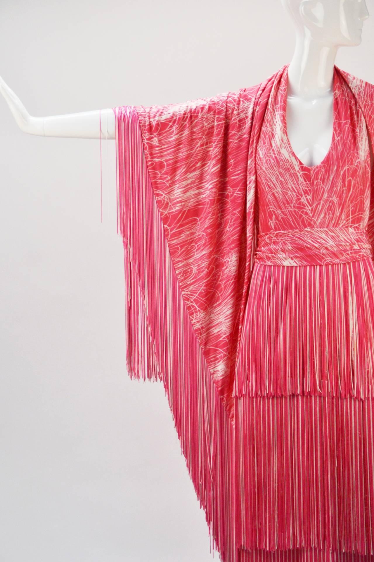 1970s Lilli Diamond Pink and White Fringe Halter Dress and Shawl 1