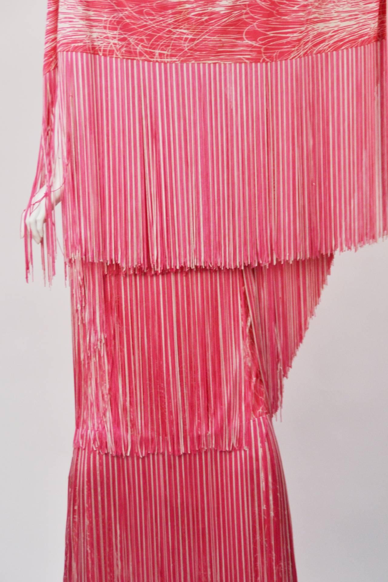 1970s Lilli Diamond Pink and White Fringe Halter Dress and Shawl 2