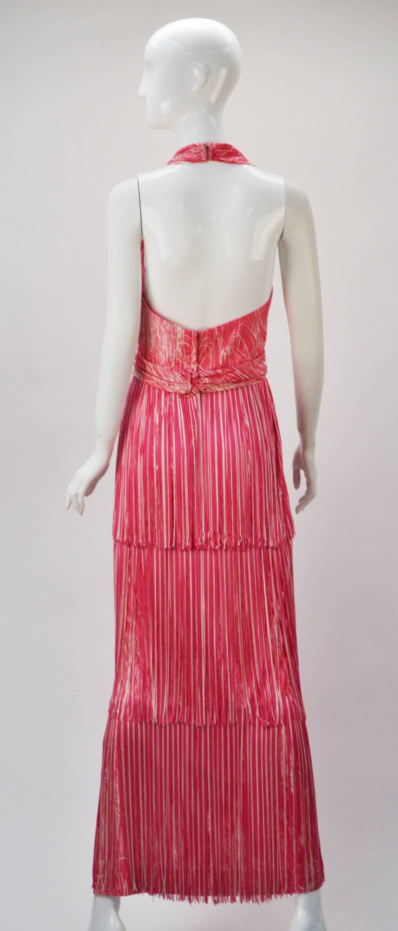 1970s Lilli Diamond Pink and White Fringe Halter Dress and Shawl In Good Condition In Houston, TX