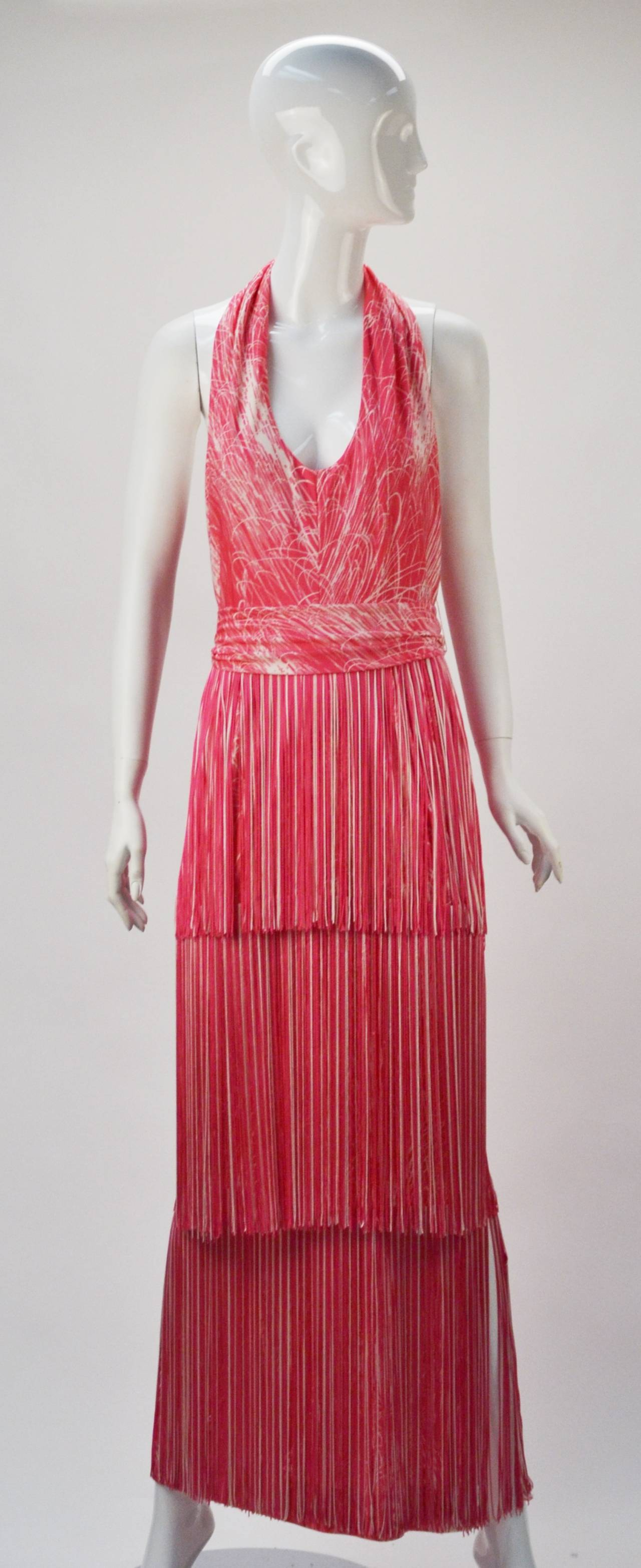 1970s Lilli Diamond Pink And White Fringe Halter Dress And