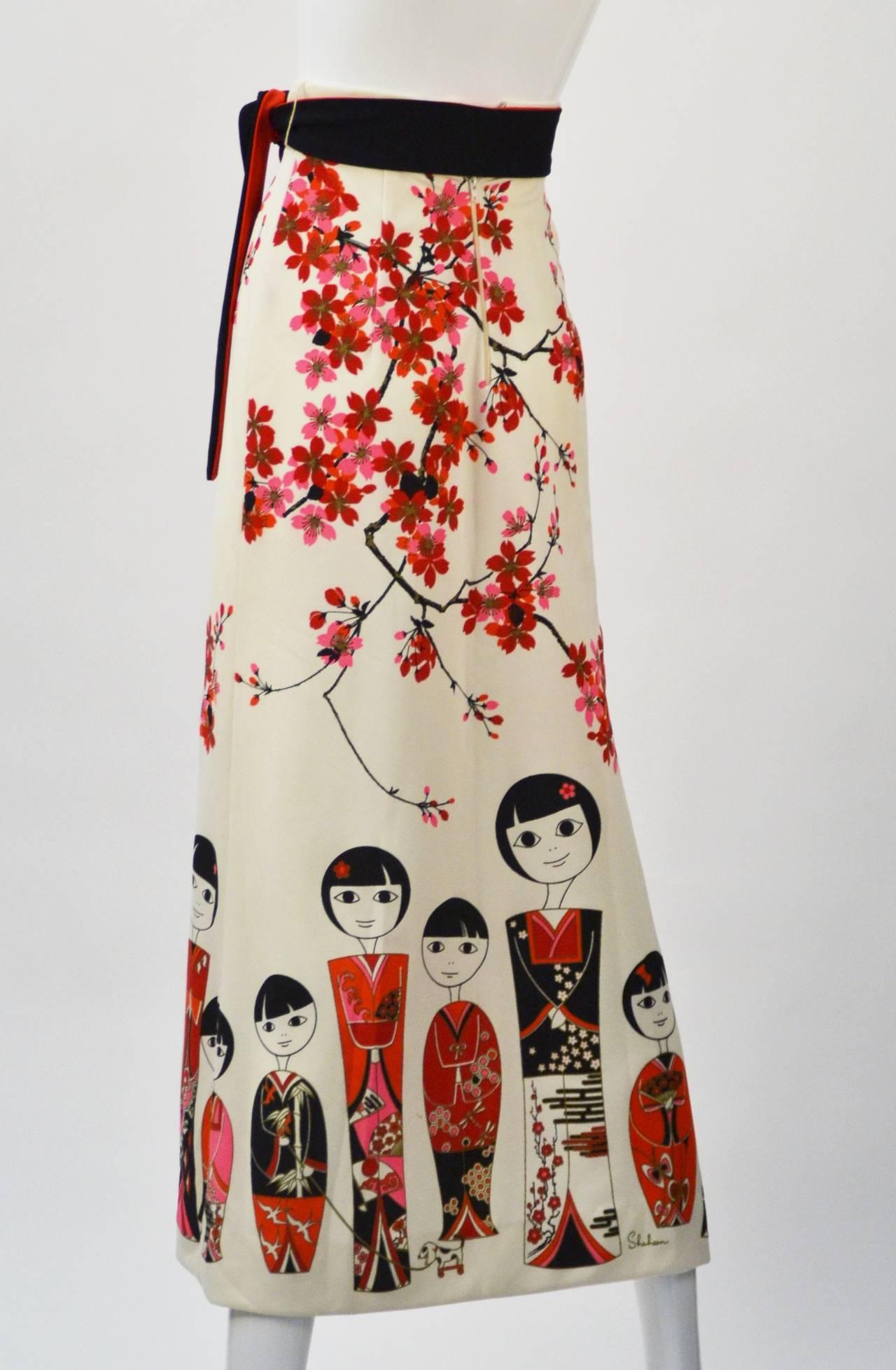 Beige 1960s Shaheen Kokeshi Doll Border Print Maxi Skirt with Obi Belt