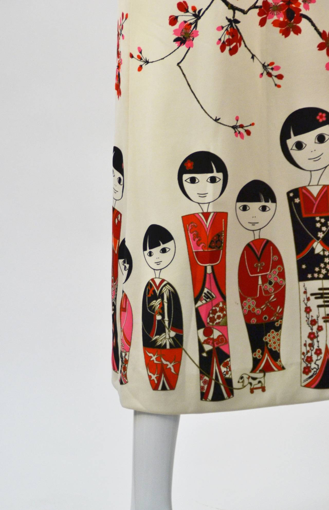 1960s Shaheen Kokeshi Doll Border Print Maxi Skirt with Obi Belt In Good Condition In Houston, TX