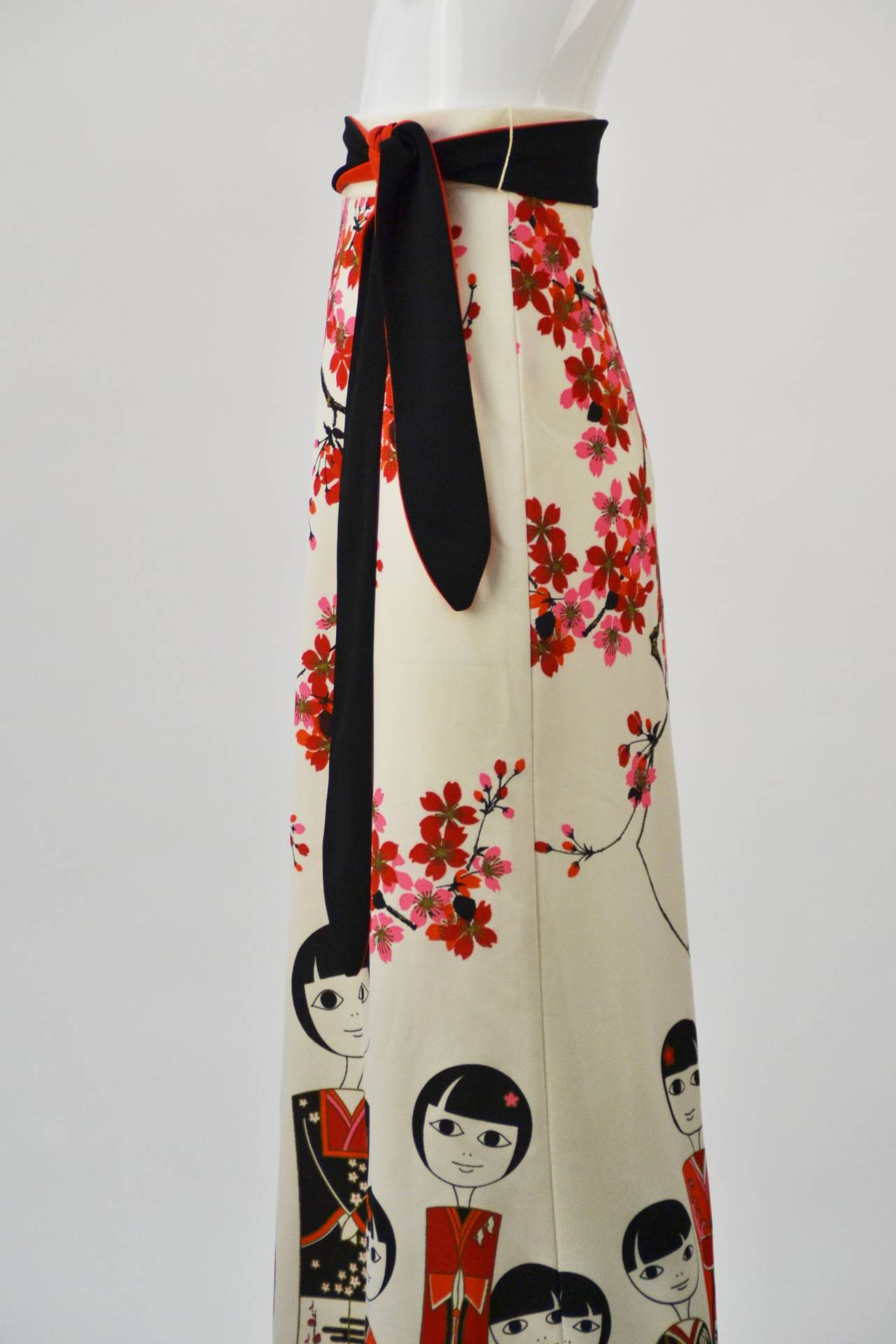 Women's 1960s Shaheen Kokeshi Doll Border Print Maxi Skirt with Obi Belt