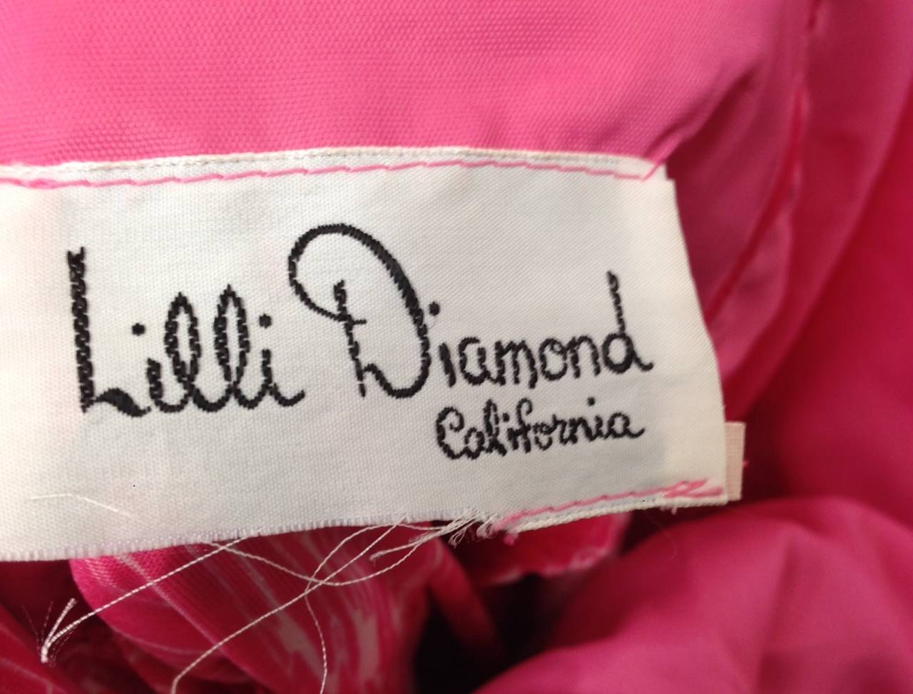 1970s Lilli Diamond Pink and White Fringe Halter Dress and Shawl 3