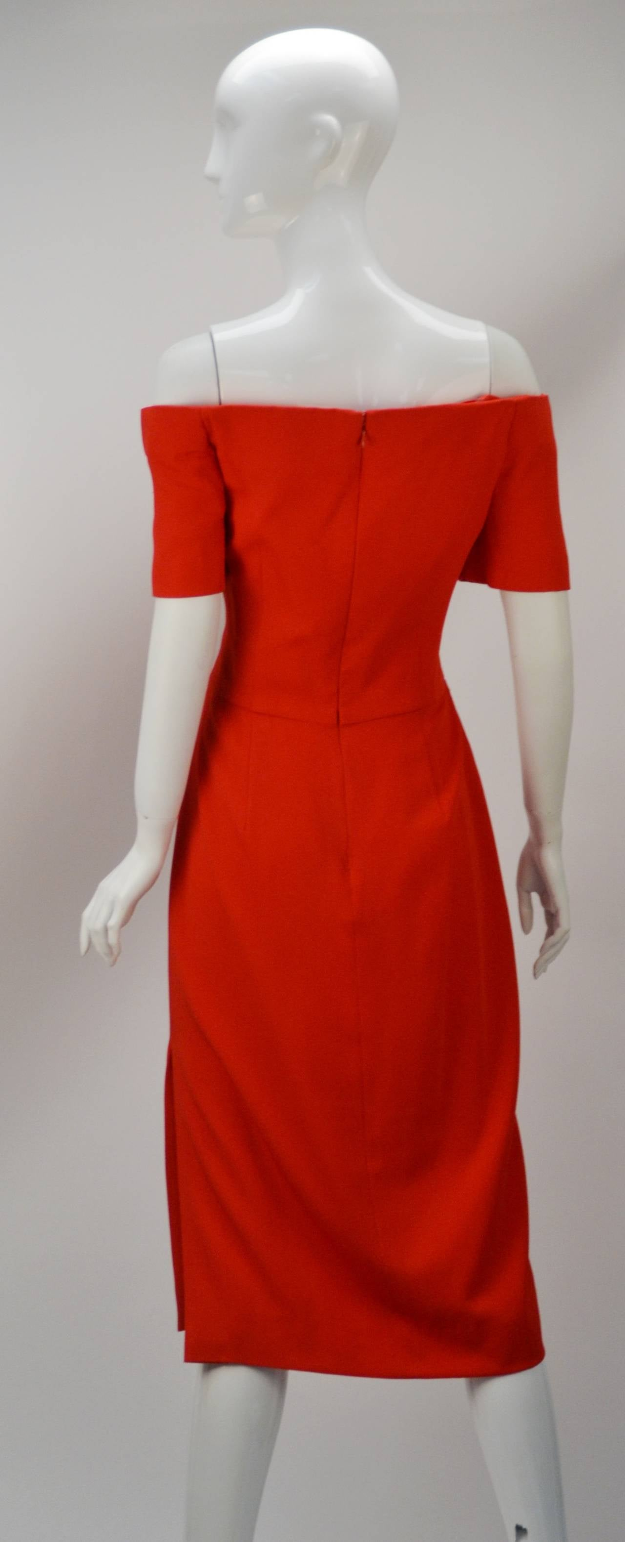1980s Scaasi Classic Red Off Shoulder Day to Night Dress In Good Condition For Sale In Houston, TX