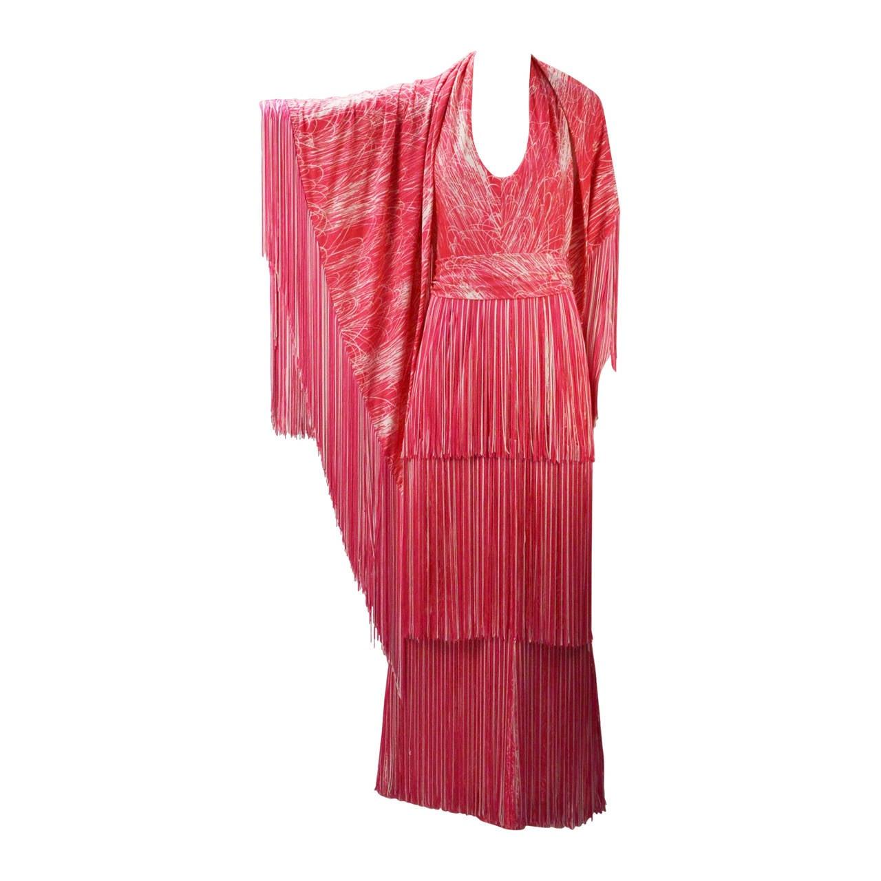 1970s Lilli Diamond Pink and White Fringe Halter Dress and Shawl