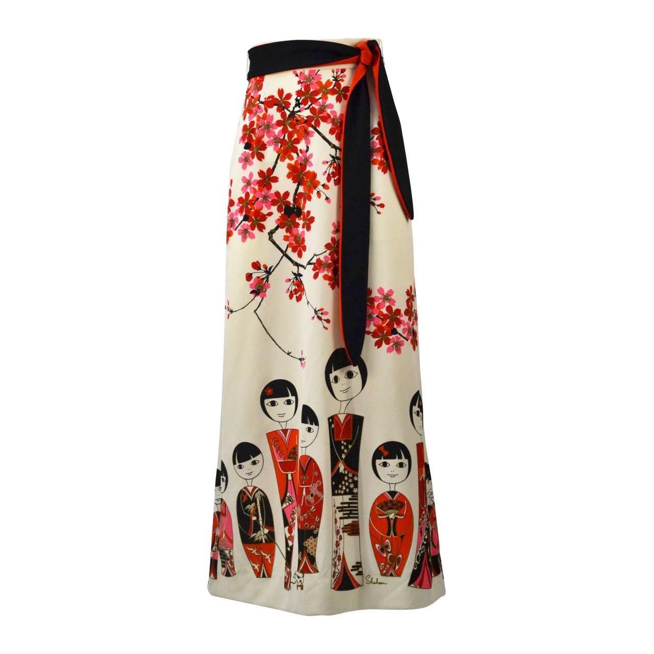 1960s Shaheen Kokeshi Doll Border Print Maxi Skirt with Obi Belt