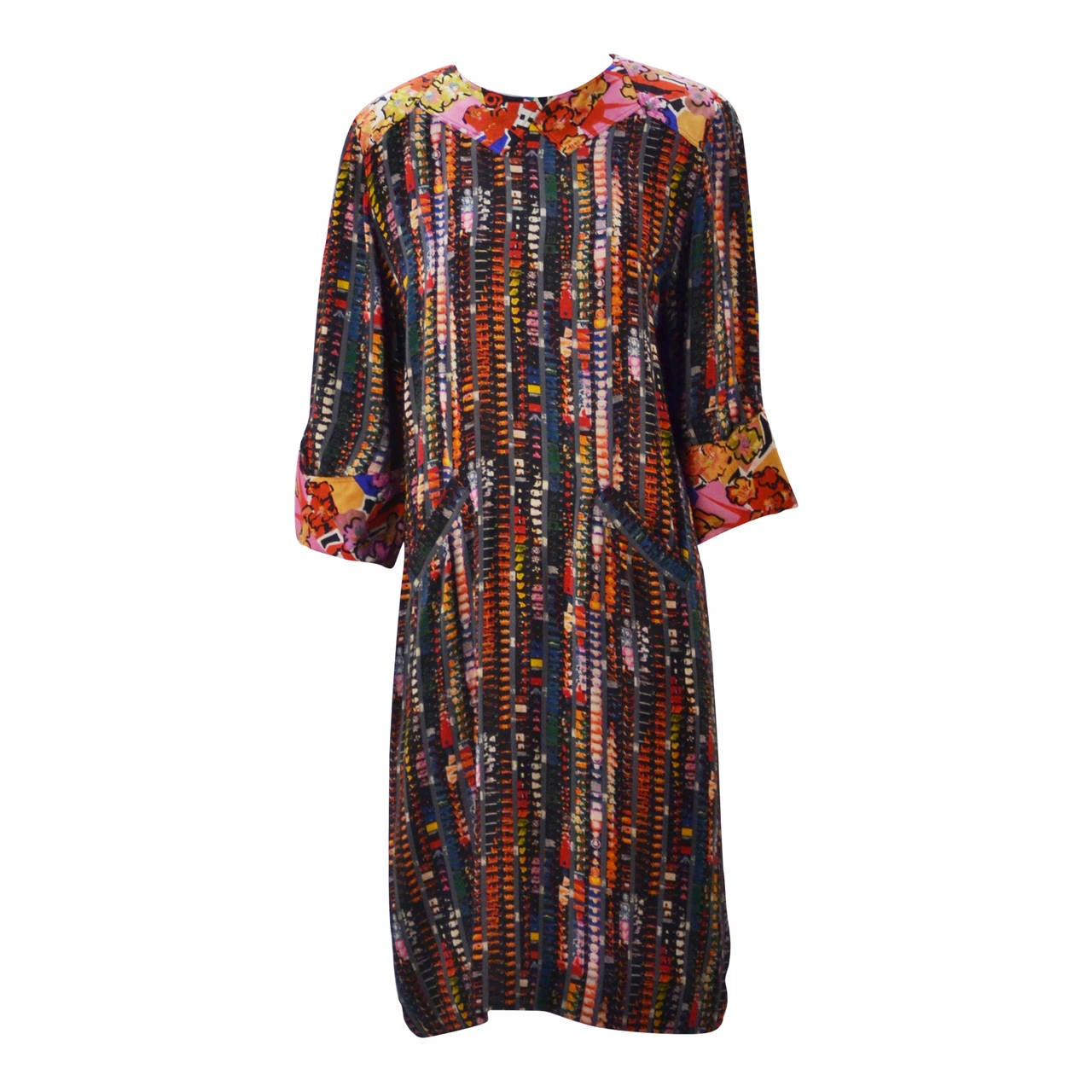 d826abd97e43 1980s Fendi Silk Multi Color Shift Dress at 1stdibs