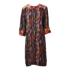 1980s Fendi Silk Multi Color Shift Dress