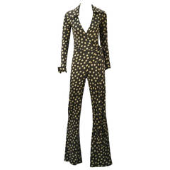 1970s Diane von Furstenberg Polka Dot Wrap Around Jumpsuit
