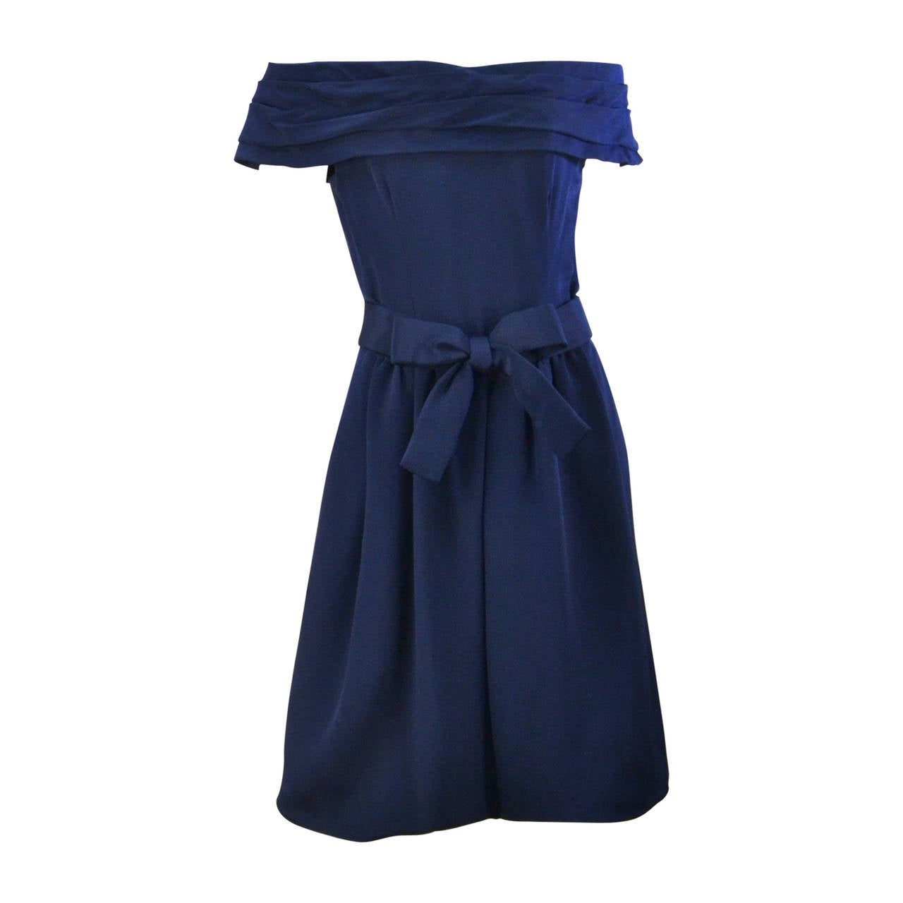 1960s Arnold Scaasi Navy Cocktail Dress