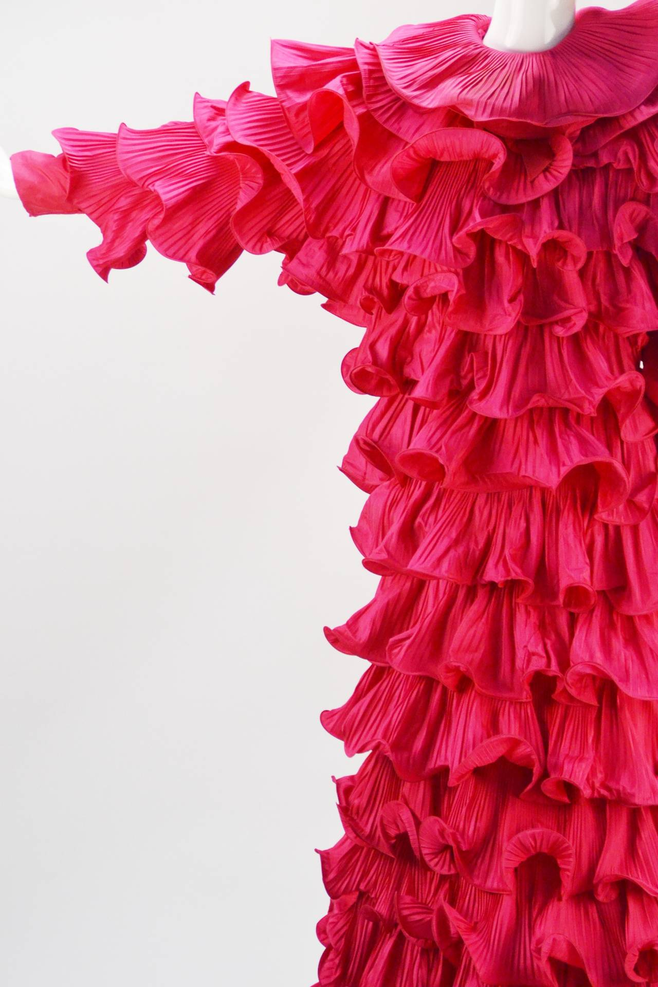 1980s Pierre Cardin Haute Couture Fuschia Ruffled Evening Gown For Sale 1
