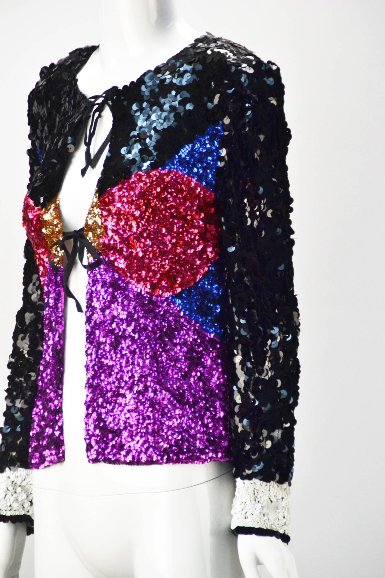 1980s Sonia Rykiel Couture Multi Color Sequin Jacket For