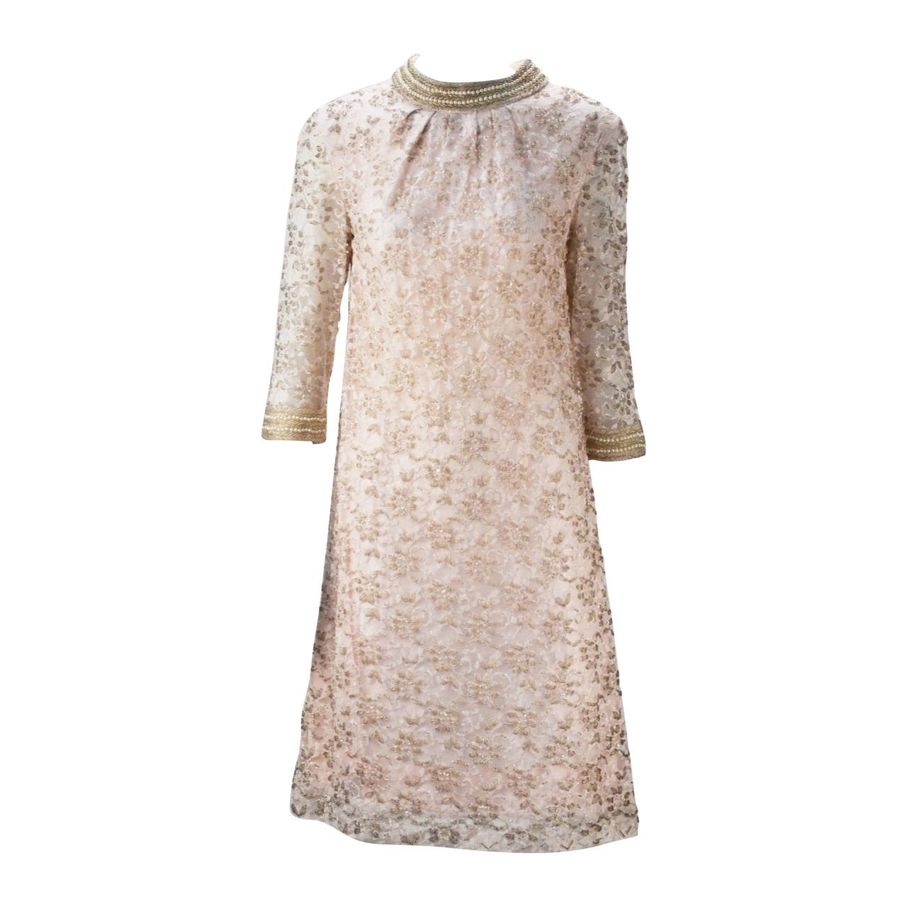 1960s Valentina Lace Beaded Cocktail Dress For Sale at 1stdibs