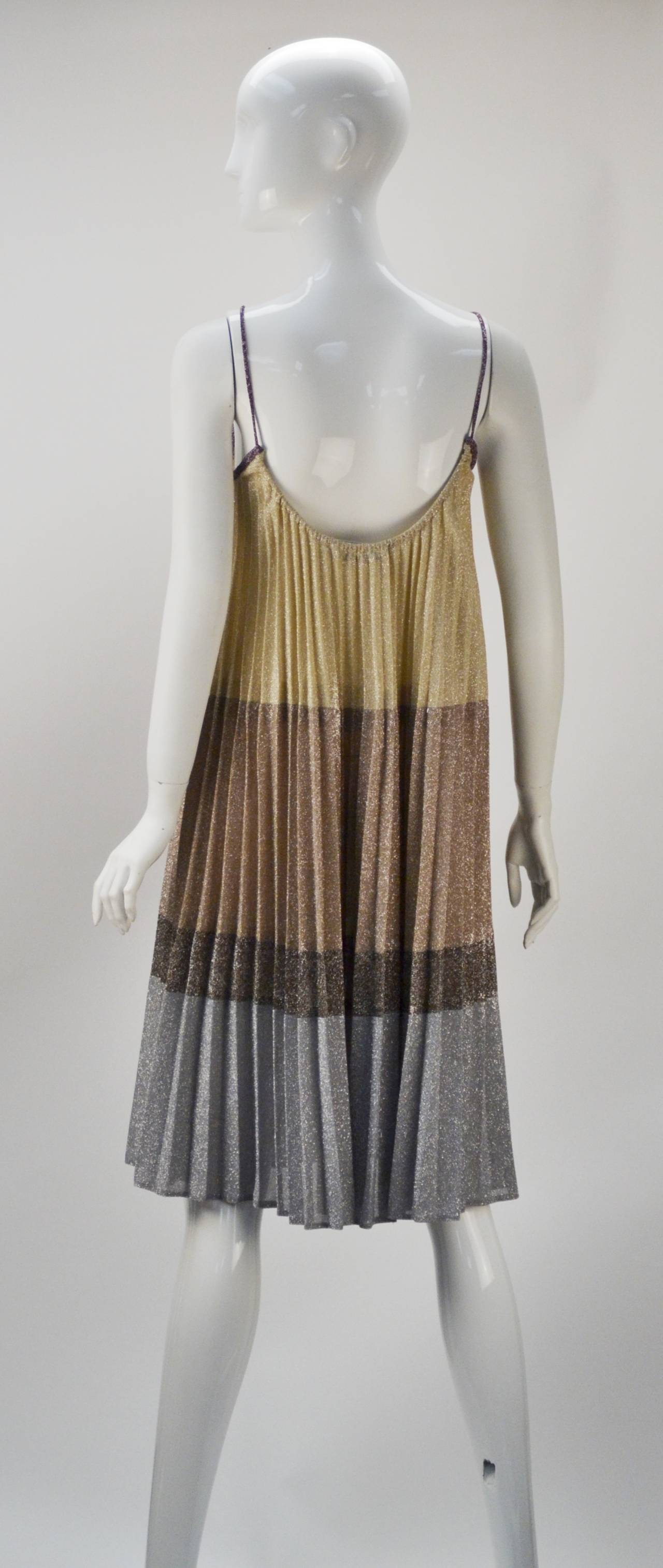 1970s Giorgio Sant' Angelo Knit Metallic Mini dress 3
