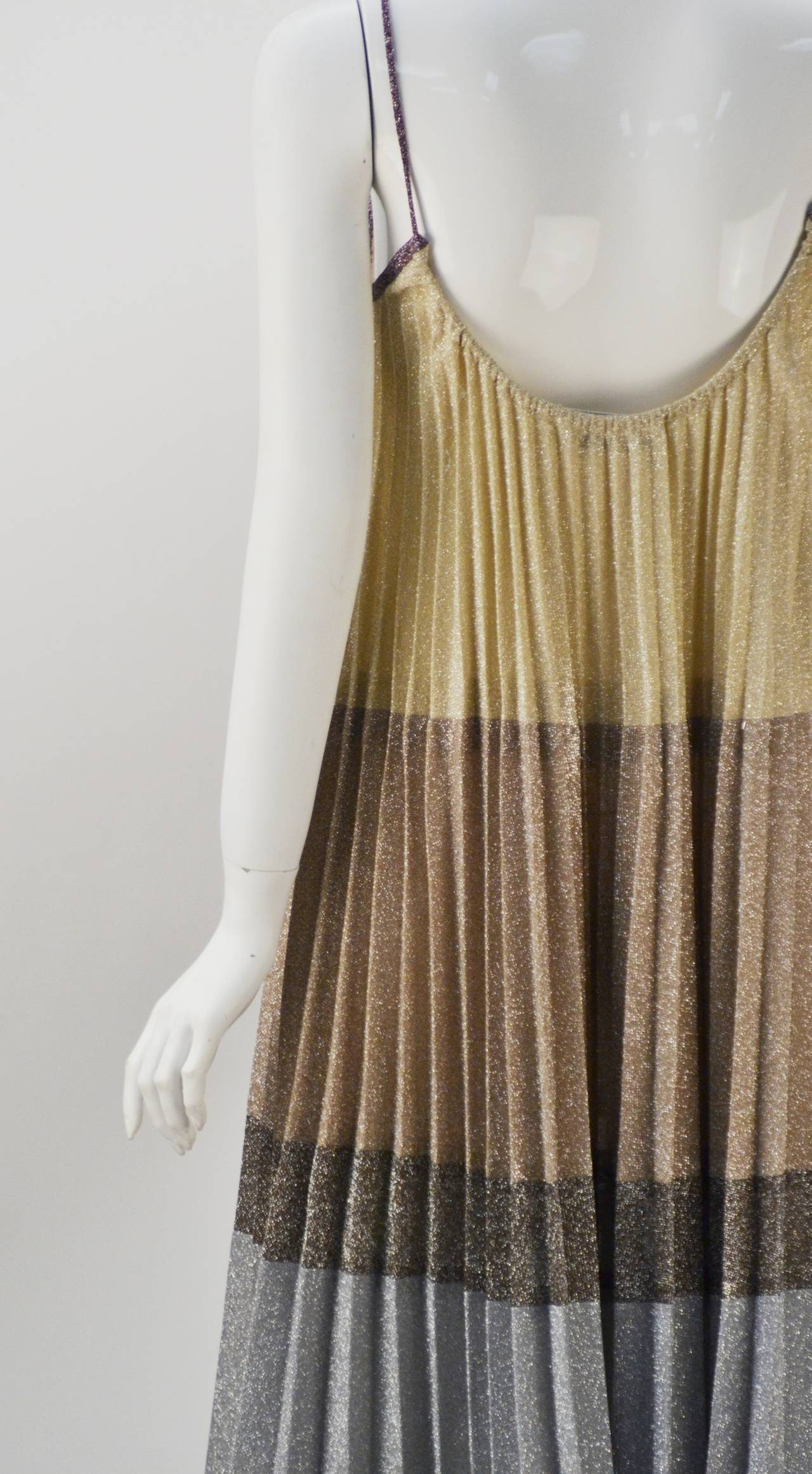 1970s Giorgio Sant' Angelo Knit Metallic Mini dress 4